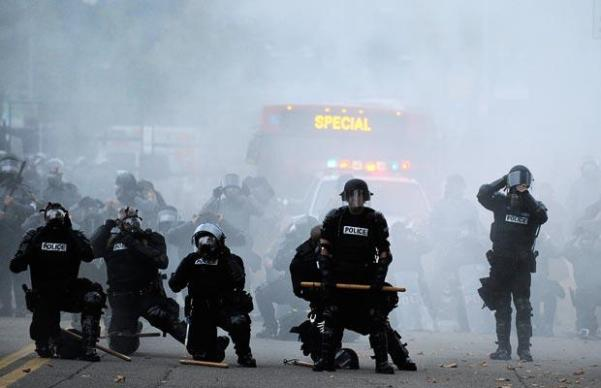 It wasn't long before police decided to use tear gas  getty images